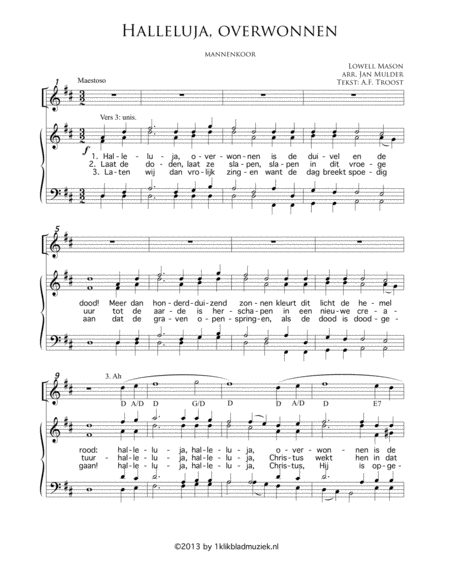 Halleluja, Overwonnen - Men's Choir, Piano/Organ, Trumpet (Accompaniment For Mixed Choir)