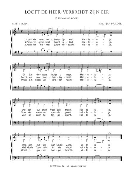 Looft De Heer, Verbreidt Zijn Eer - Small Mixed Choir And Piano Or Organ