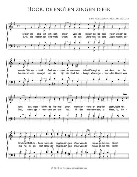 Hoor, De Eng'Len Zingen D'Eer (Met Bovenstem) - Mixed Choir And Piano Or Organ