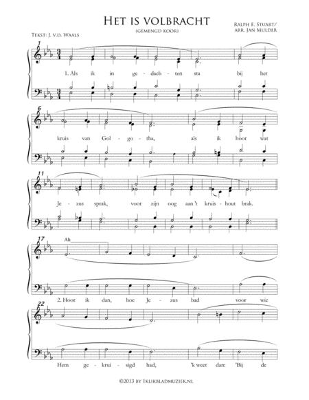 Het Is Volbracht / Als Ik In Gedachten Sta - Mixed Choir And Piano Or Organ