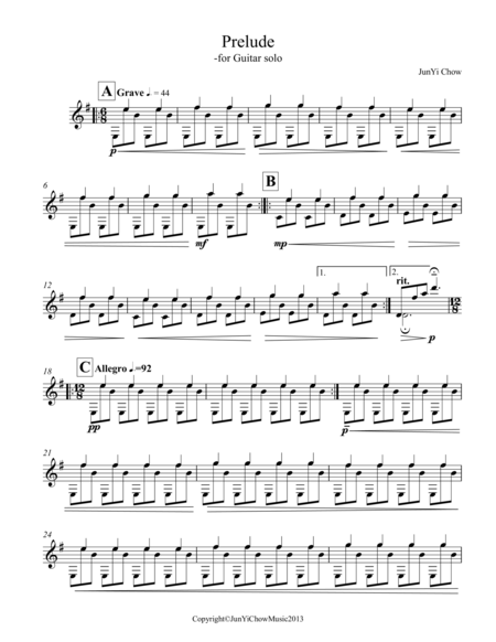 Prelude for Guitar Solo