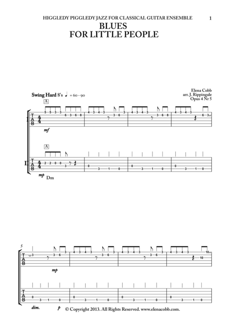 Blues for Little People, classical guitar duet, TAB, early intermediate
