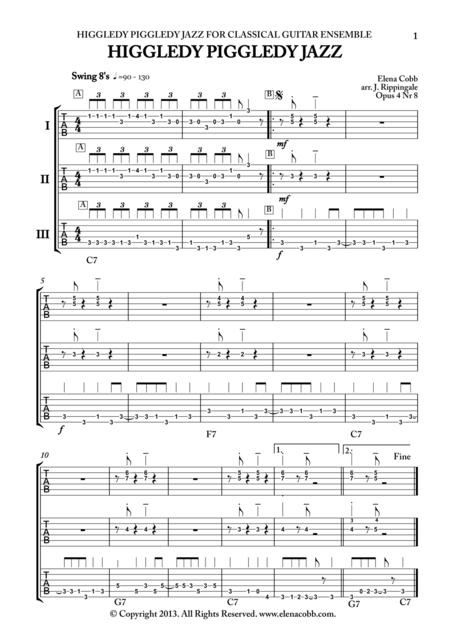 Higgledy Piggledy Jazz, classical guitar trio, TAB, mixed levels