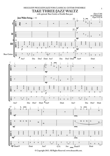 Take Three, Jazz Waltz, classical guitar quartet, TAB, mixed levels