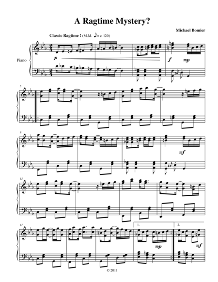 A Ragtime Mystery from New Ragtime Piano Music