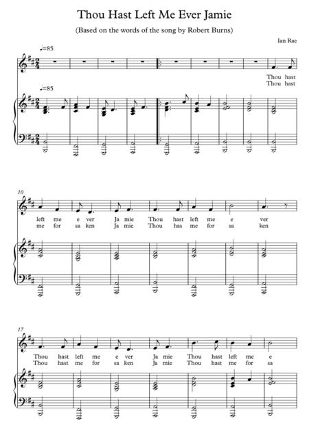 Robert Burns Song - Thou Hast Left Me Ever Jamie