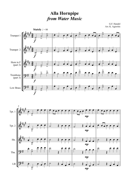 Alla Hornpipe from Handel's Water Music - for Brass Quartet