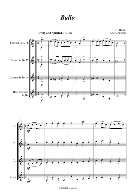 Ballo - for Clarinet Quartet