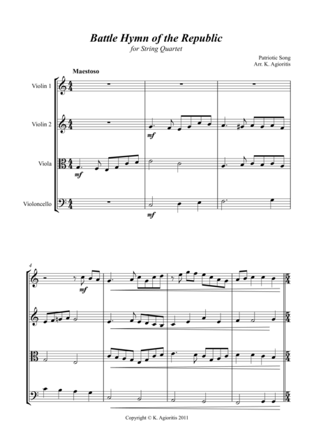 Battle Hymn of the Republic - A Jazz Arrangement - for String Quartet
