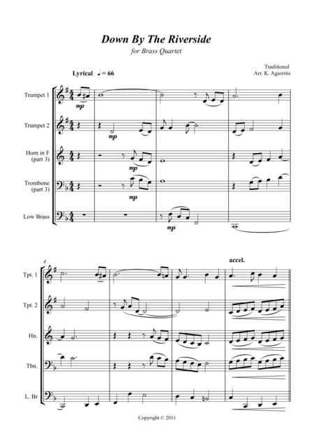 Down by the Riverside - for Brass Quartet