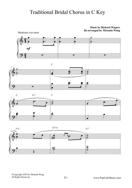 Bridal Chorus ( Contemporary Edition ) in C Key