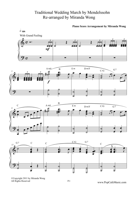 Wedding March ( Wedding Version) for Piano