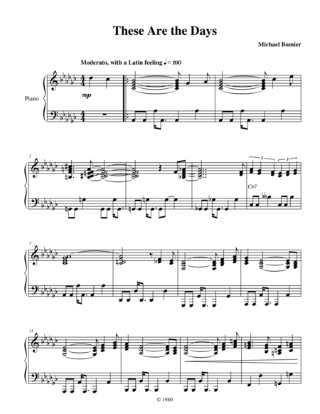 These are the Days, a smooth-jazz piano solo from Modern Solos