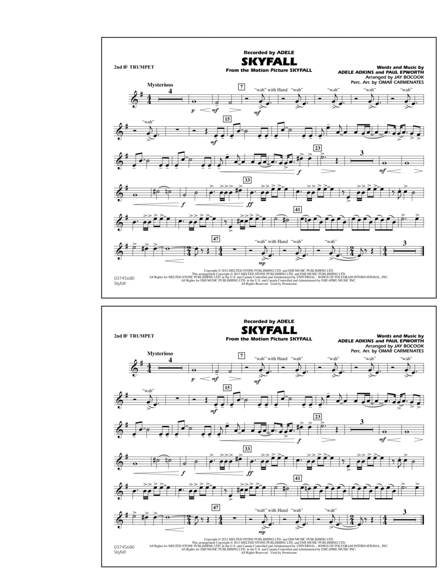 Skyfall - 2nd Bb Trumpet