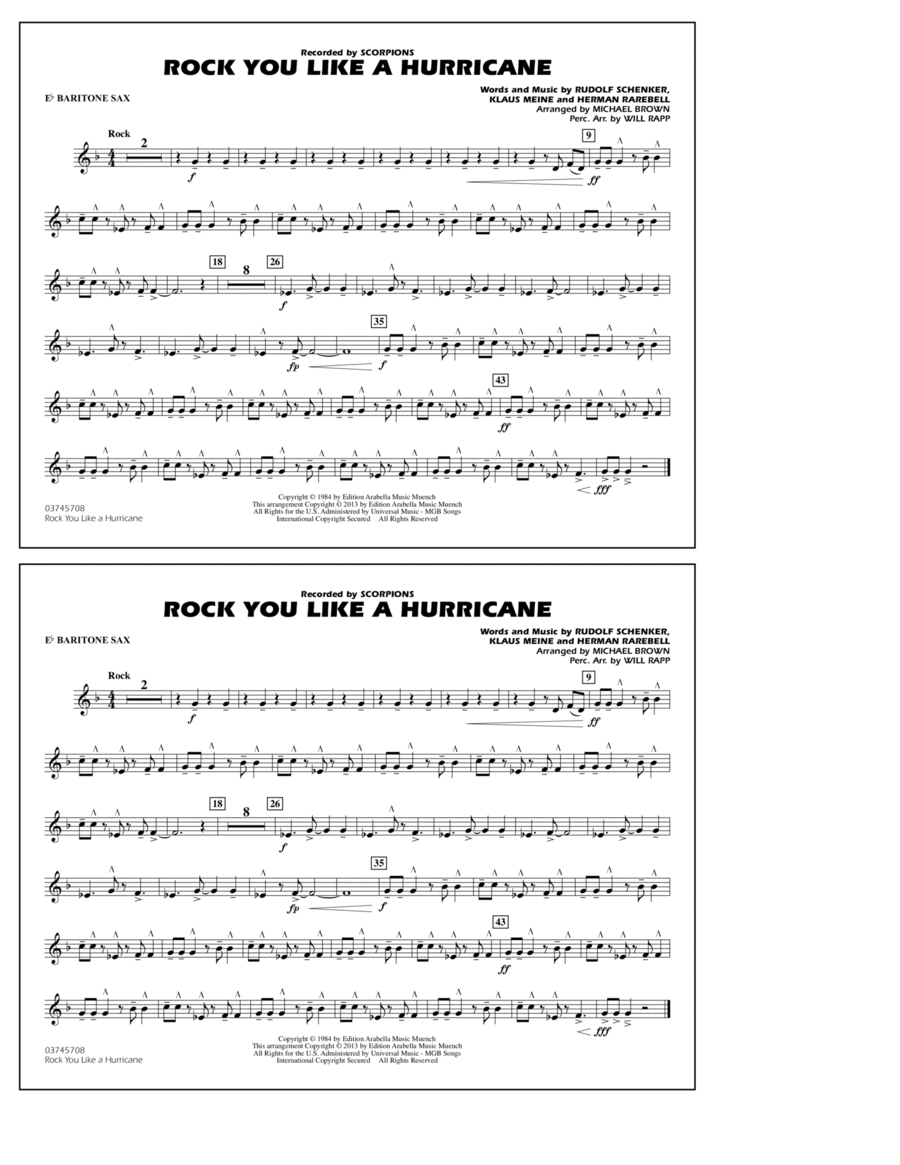 Rock You Like a Hurricane - Eb Baritone Sax