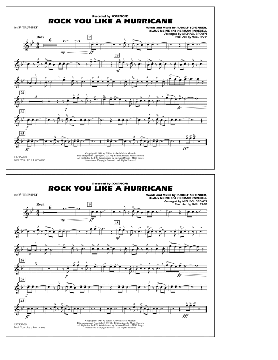 Rock You Like a Hurricane - 1st Bb Trumpet