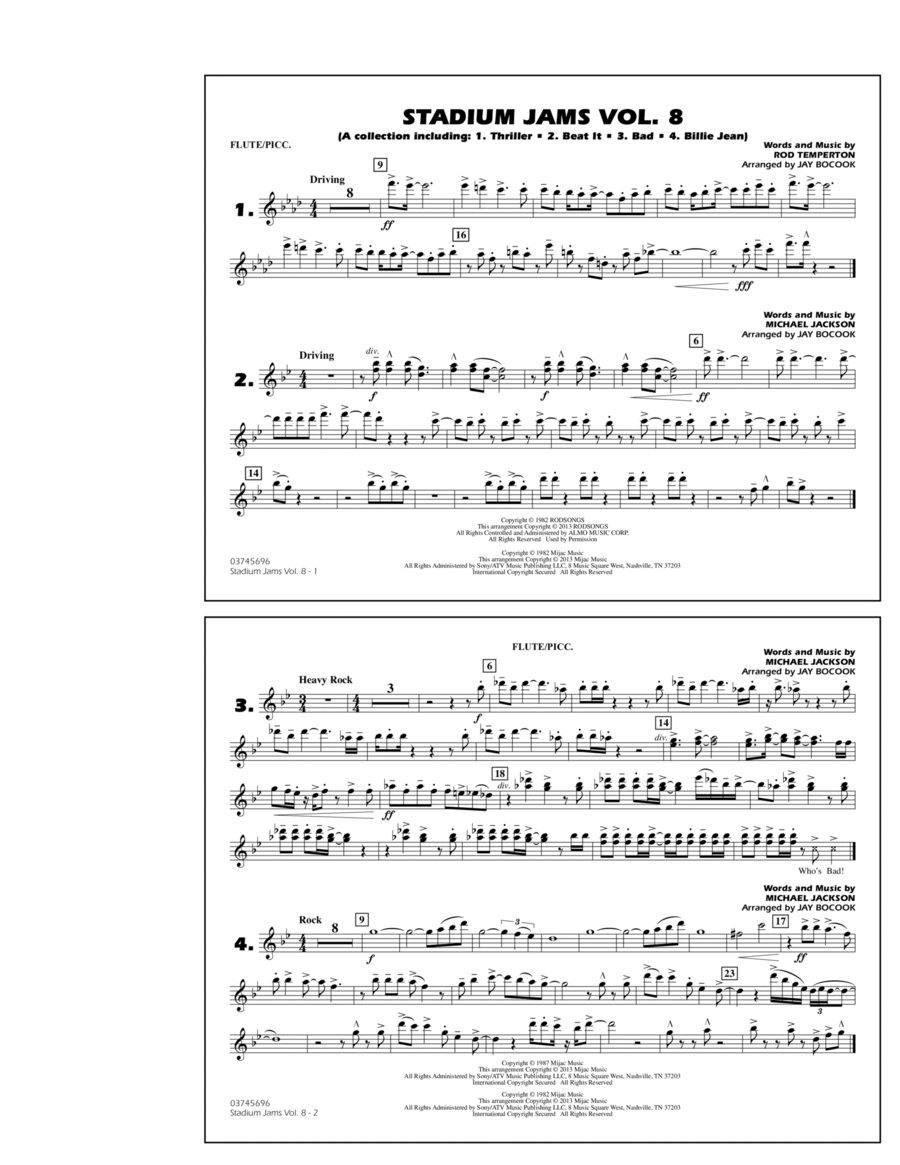Stadium Jams Volume 8 (Michael Jackson) - Flute/Piccolo