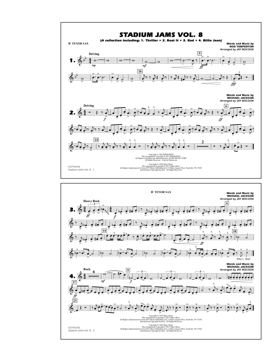 Stadium Jams Volume 8 (Michael Jackson) - Bb Tenor Sax