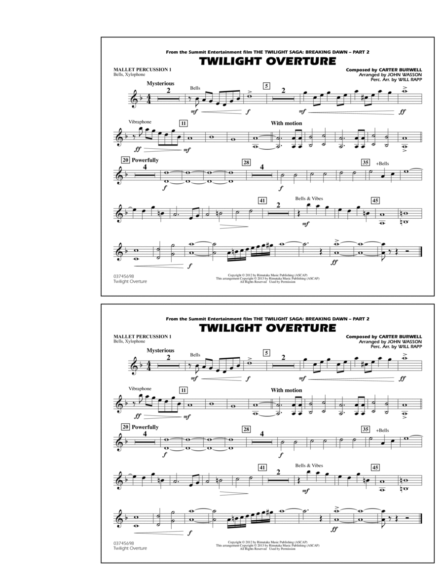Twilight Overture - Mallet Percussion 1