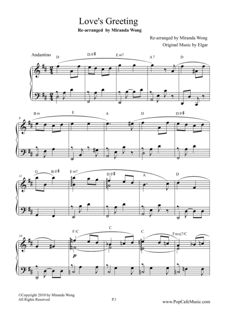 Love's Greeting (Salut d'Amour) - Romantic Piano Solo in D Key
