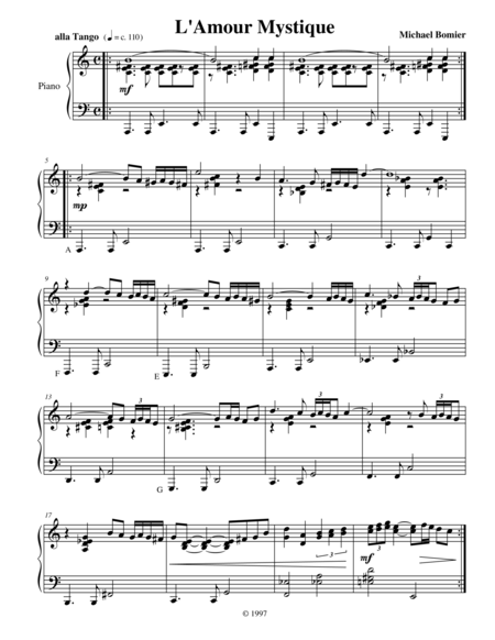 L'Amour Mystique, a Latin jazz piano solo from Modern Solos