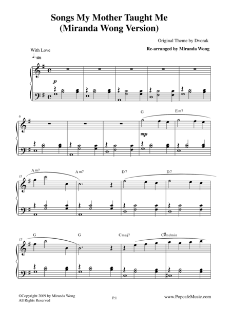 Songs my Mother Taught Me - Easy Piano Solo