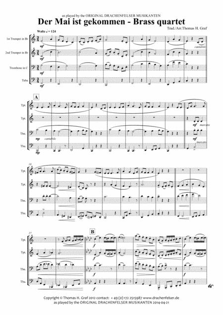 Der Mai ist gekommen - German Folk Song - Brass Quartet