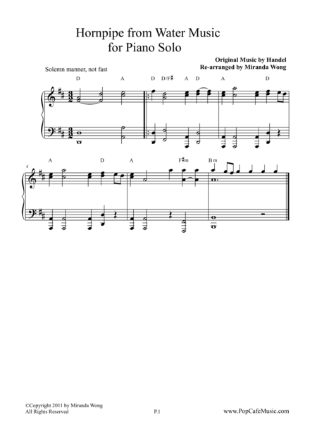 Hornpipe from Water Music - Piano Solo