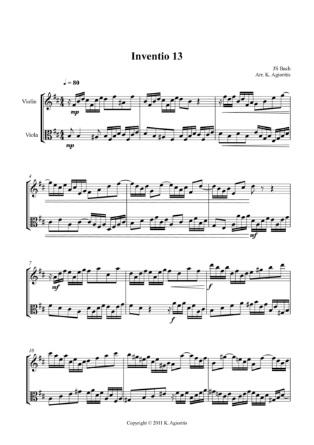 Inventio - Duet for Violin and Viola.