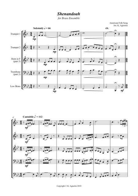 Shenandoah - for Brass Quartet