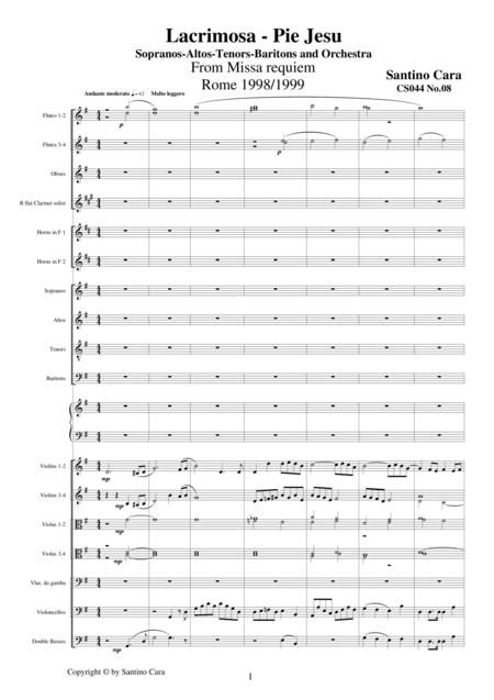 Lacrimosa - Pie Jesu - Sequences no.8 of the Missa Requiem CS044