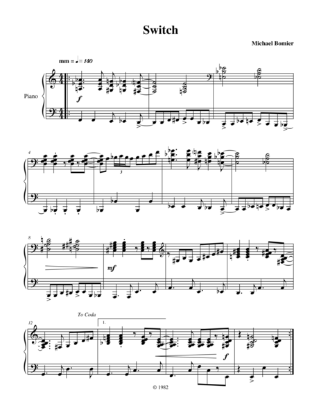 Switch, a jazz-rock piano solo from Modern Solos
