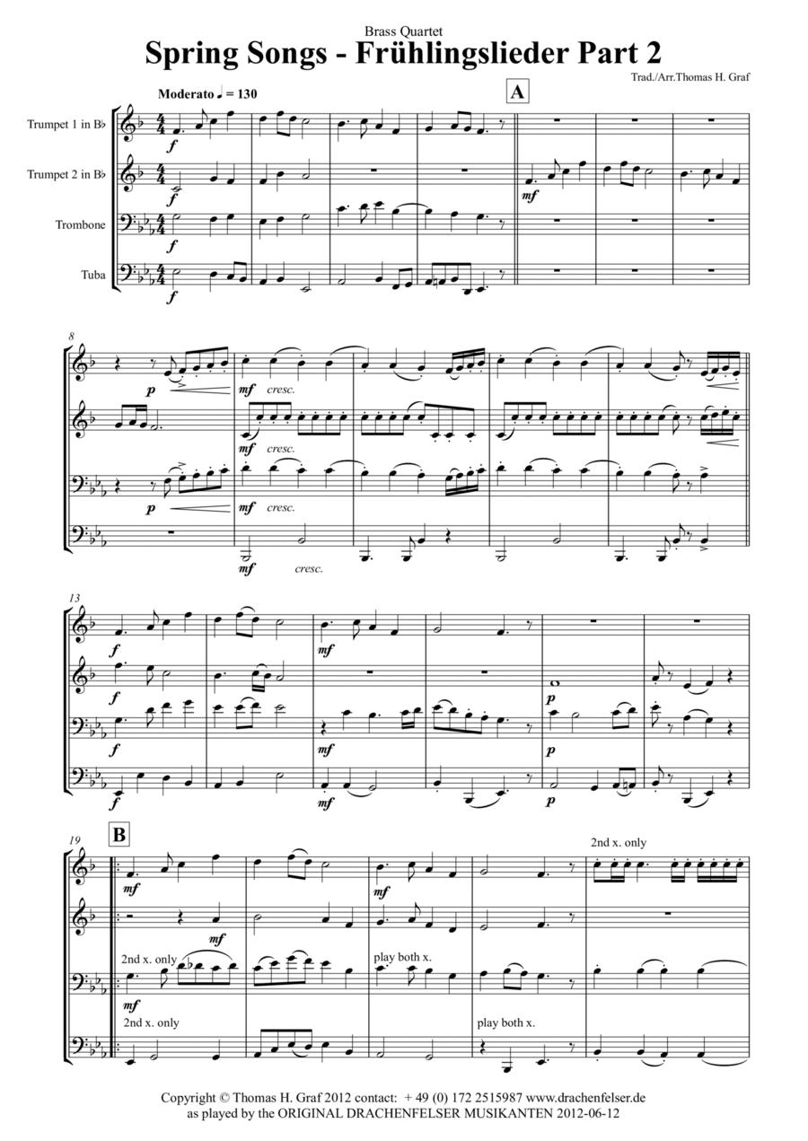 Spring Songs - Frühlingslieder - Part 2 - German Folk Songs - Brass Quartet