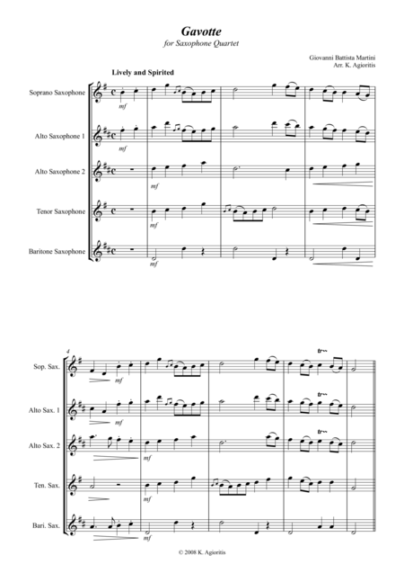 Gavotte - for Saxophone Quartet