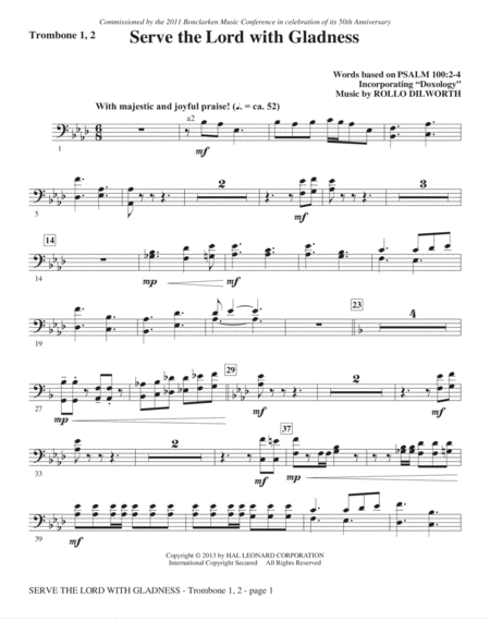 Serve the Lord with Gladness - Trombone 1 & 2