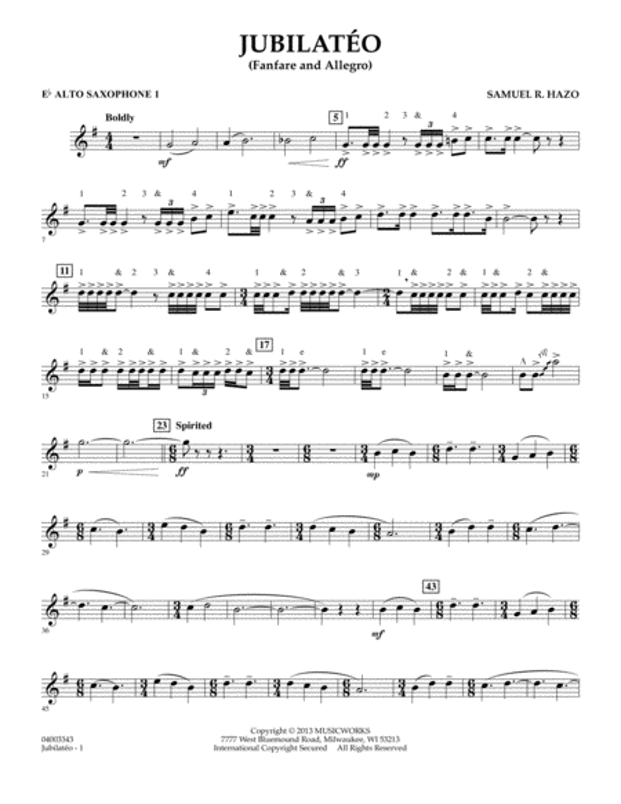 Jubilateo - Eb Alto Saxophone 1