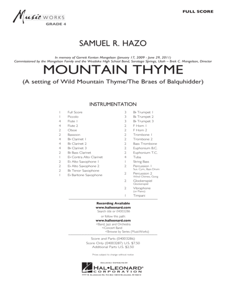 Mountain Thyme - Conductor Score (Full Score)