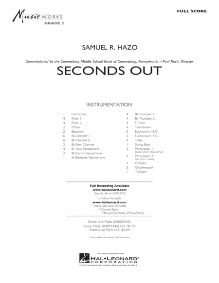 Seconds Out - Full Score