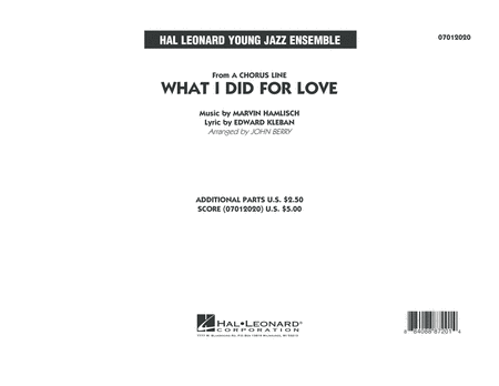 What I Did For Love - Conductor Score (Full Score)