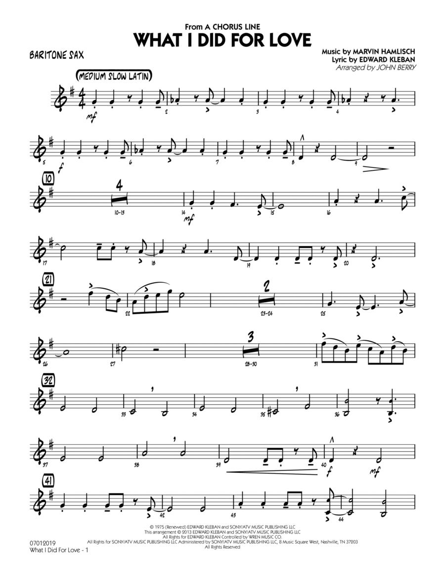 What I Did For Love - Baritone Sax