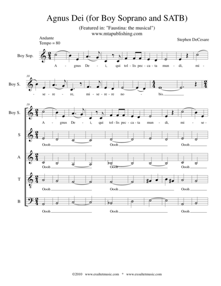 Agnus Dei (for Boy Soprano and SATB)