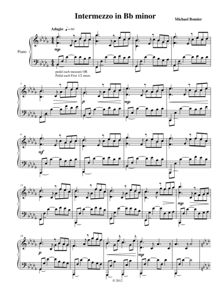 Intermezzo in Bb minor, from Nine Character Pieces