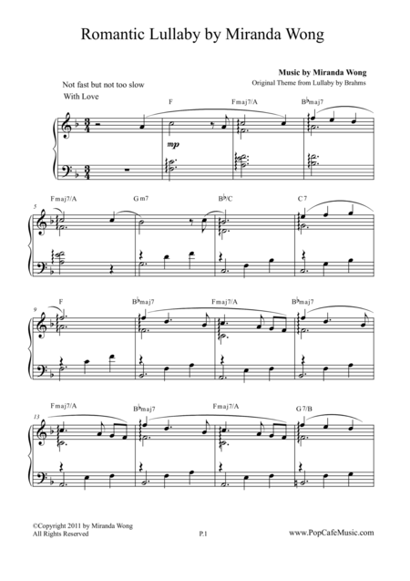 Romantic Lullaby for Piano Solo