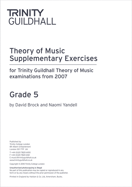Theory Supplementary Exercises Grade 5