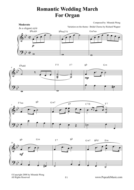 Romantic Wedding March - Short Version for Organ