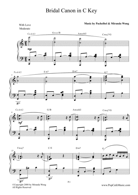 Bridal Canon in Bb (C Key) - Wedding Music by Miranda Wong