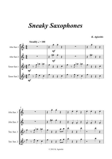 Sneaky Saxophones - Quartet for Young Sax Players (AATT)