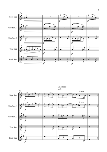 Trio Sonata Op. 2 No. 8 4th Movement - for Saxophone Quintet