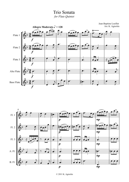 Trio Sonata Op. 2 No. 8 4th Movement - for Flute Choir