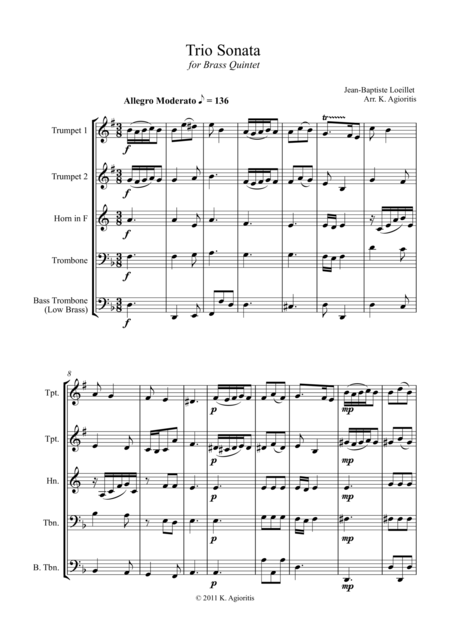 Trio Sonata Op. 2 No. 8 4th Movement - for Brass Quintet